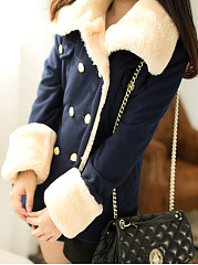 Lapel  Double Breasted Drawstring  Belt Loops  Plain  Long Sleeve Coats