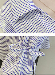 Autumn Spring  Cotton  Women  Turn Down Collar  Striped  Tie Sleeve  Long Sleeve Blouses