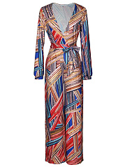 Deep-V-Neck-Belt-Printed-Wide-Leg-Jumpsuit