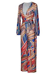Deep V-Neck Belt Printed Wide-Leg Jumpsuit