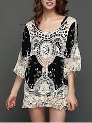 Open Shoulder  Hollow Out Printed Tunic