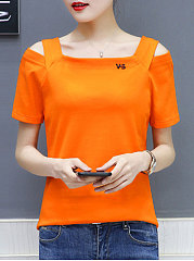 Summer  Cotton  Women  Open Shoulder  Plain Short Sleeve T-Shirts