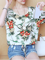 Cotton  Women  Round Neck  Printed Short Sleeve T-Shirts