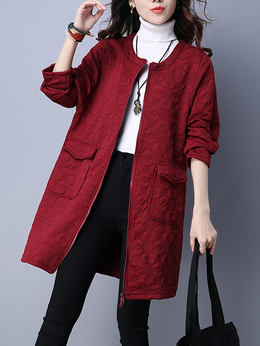 Collarless Flap Pocket Embossed Plain Cardigan