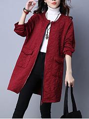 Collarless-Flap-Pocket-Embossed-Plain-Cardigan