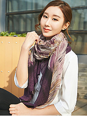 New Elegant Retro Cotton Abstract Floral Print Long Scarf