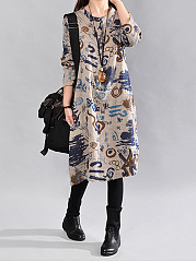 Round Neck Graffiti Pocket Maxi Dress