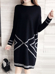 Round Neck Brocade Knitted Shift Dress