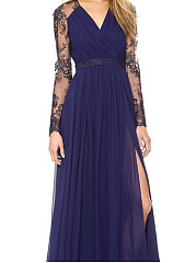 V Neck  Patchwork Slit  Lace Maxi Dress