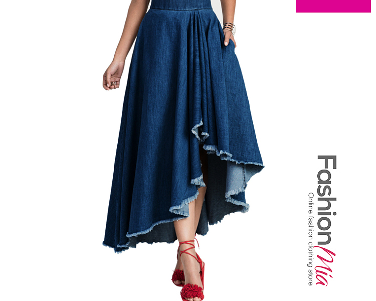 Ripped  Heavy Wash Maxi Skirts