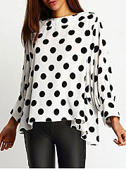Round Neck  Asymmetric Hem  Polka Dot  Puff Sleeve  Long Sleeve Blouses
