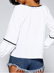 Autumn Spring  Cotton  Women  V-Neck  Contrast Piping  Plain  Long Sleeve Blouses