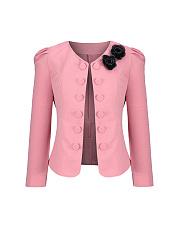 Delicate-Bowknot-Decorative-Button-Puff-Sleeve-Blazer