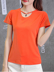 Summer  Cotton  Women  Asymmetric Neck  Plain Short Sleeve T-Shirts