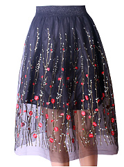 Embroidery Hollow Out Flared Midi Skirt