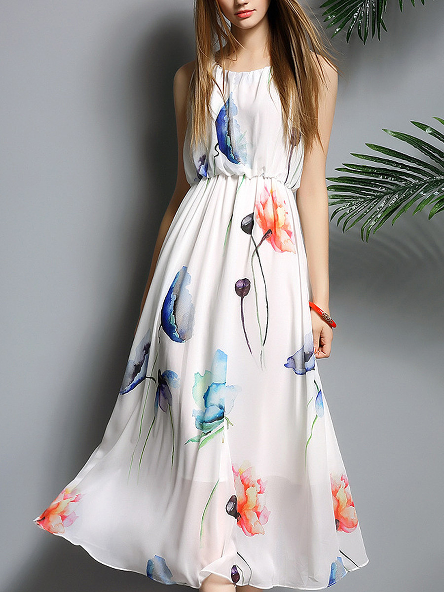 Round Neck  Elastic Waist  Printed  Polyester Maxi Dress