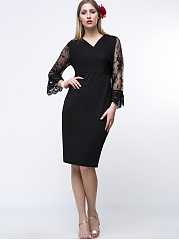 Bell Sleeve V-Neck Hollow Out Solid Plus Size Bodycon Dress