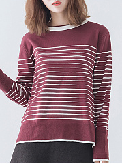 Round Neck  Loose Fitting Side Vented  Stripes Knit Pullover