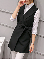 Notch Lapel Belt Plain Sleeveless Wrap Blazer