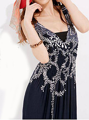 V-Neck  Elastic Waist  Paisley Maxi Dress