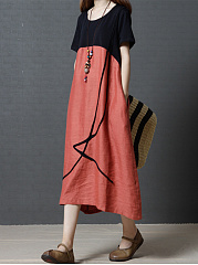 Loose Round Neck Pocket Color Block Maxi Dress