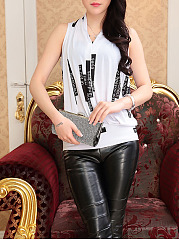Modern V-Neck  Letters Sleeveless T-Shirt