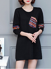 Round Neck  Casual Patch Pocket  Printed Shift Dress