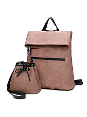 Two Pieces Pu Leather Multifunctional Backpack Bag Set
