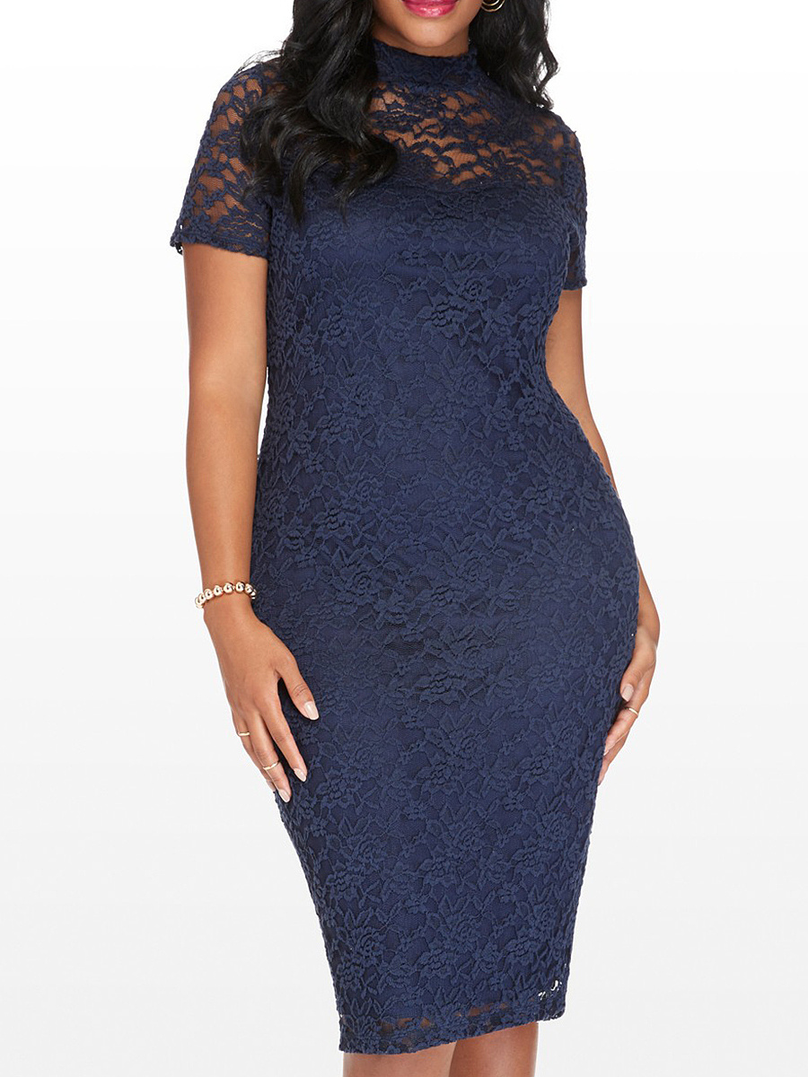 Band Collar  See-Through  Plain  Lace Bodycon Dress