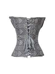 Women Sexy Abstract Printed Front Corset Overbust Synthetic Leather Body Shaper Bustiers
