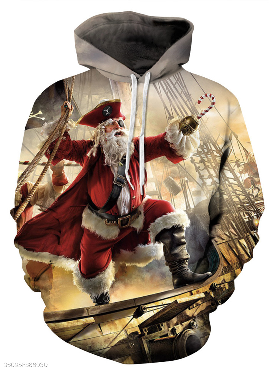 Christmas Santa Printed Kangaroo Pocket Men Hoodie