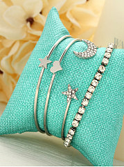 Four Pieces Imitated Crystal Moon And Star Shape Chic Bracelets