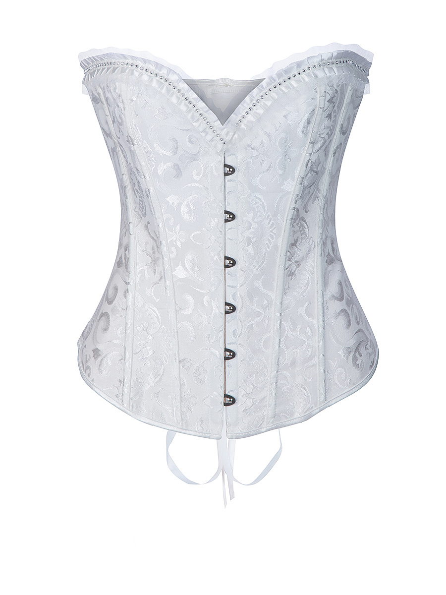 Lace-Up Ruffle Trim Single Breasted Plain Corset