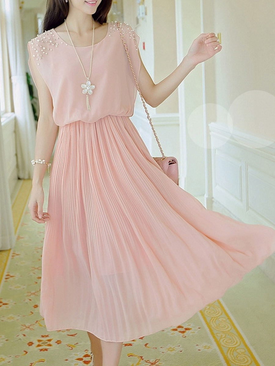 Round Neck Beading Plain Chiffon Pleated Maxi Dress