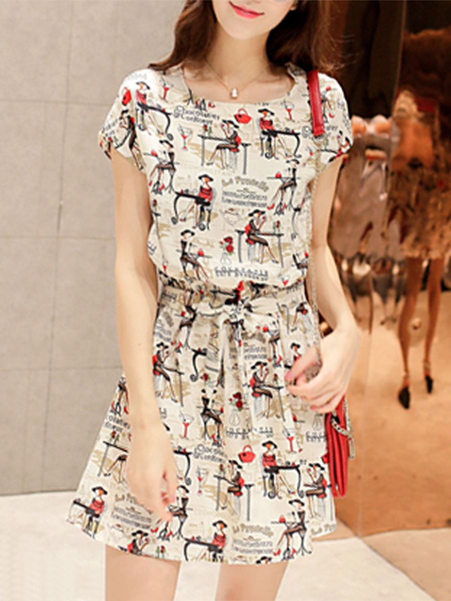 Cartoon Printed Elastic Waist Mini Skater Dress