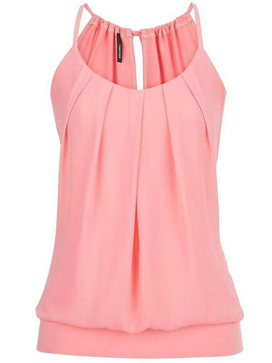 Spaghetti Strap Plain Ruched Sleeveless T-Shirt