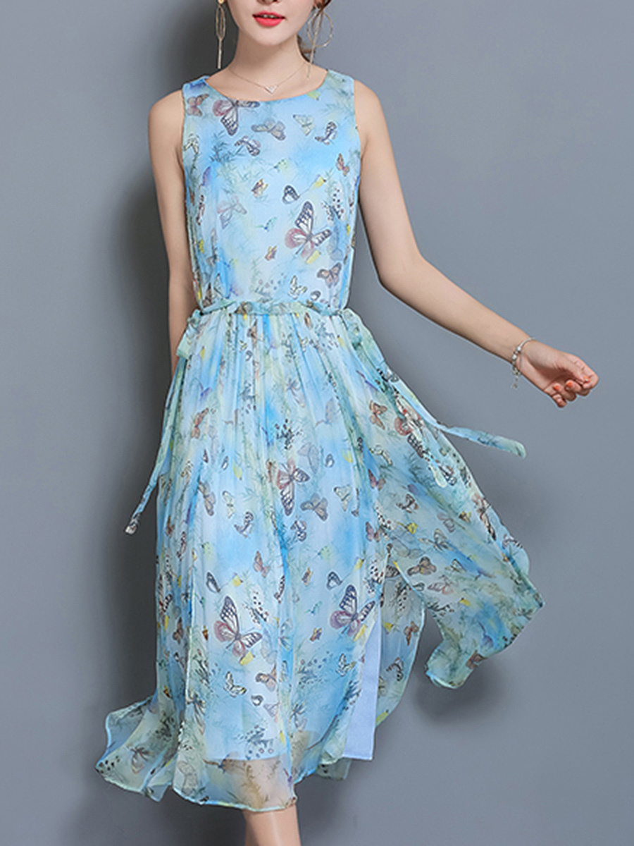 Butterfly Printed Round Neck Maxi Dress
