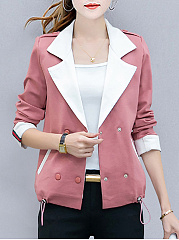 Lapel-Double-Breasted-Drawstring-Pocket-Jacket