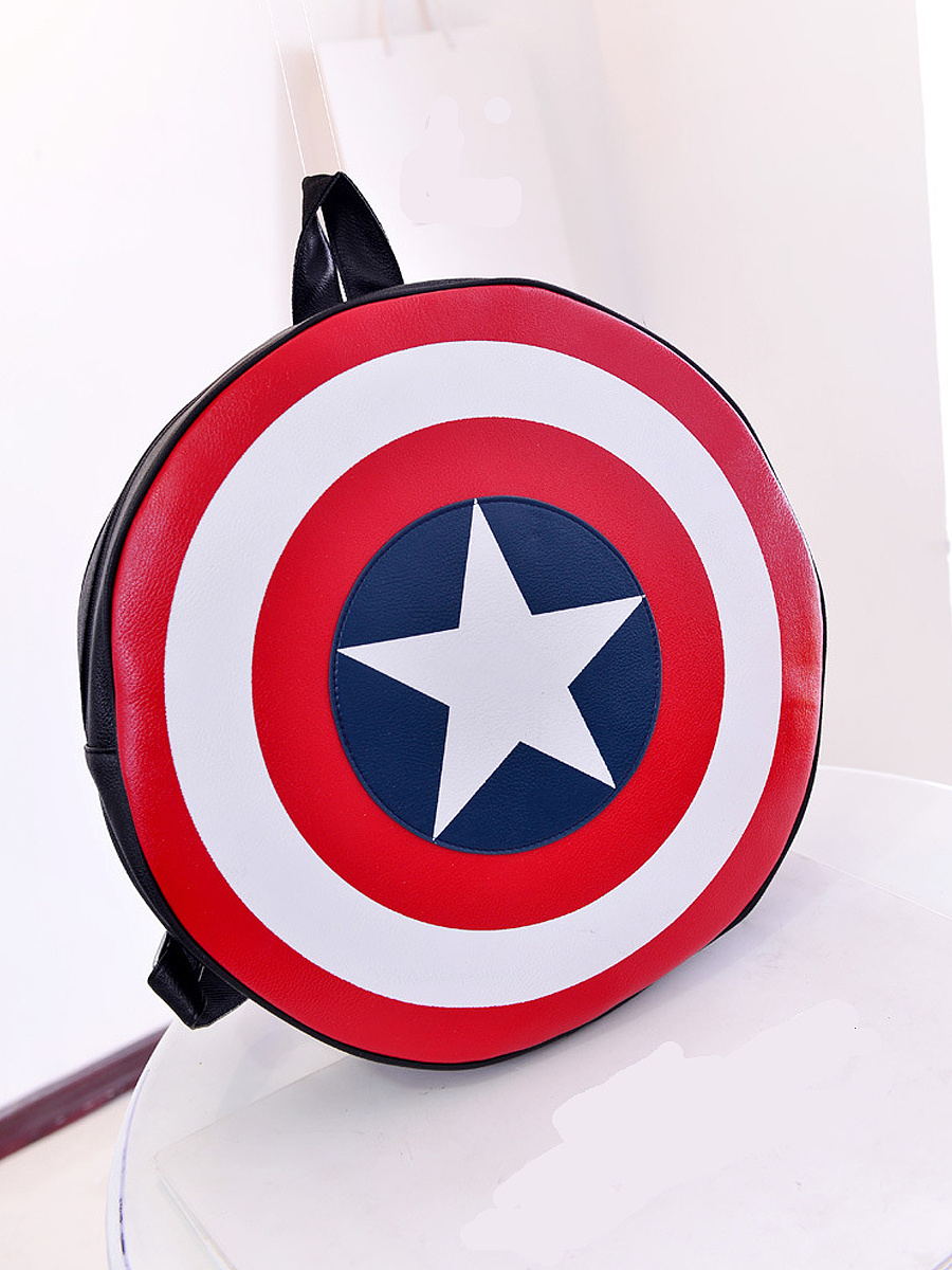 New Captain America Shield Print Drawstring Backpack