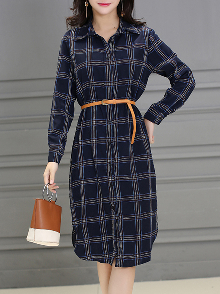 Plaid Belt Curved Hem Shirt Maxi Dress