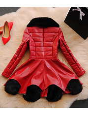 Faux Fur Collar Patchwork PU Leather Coat
