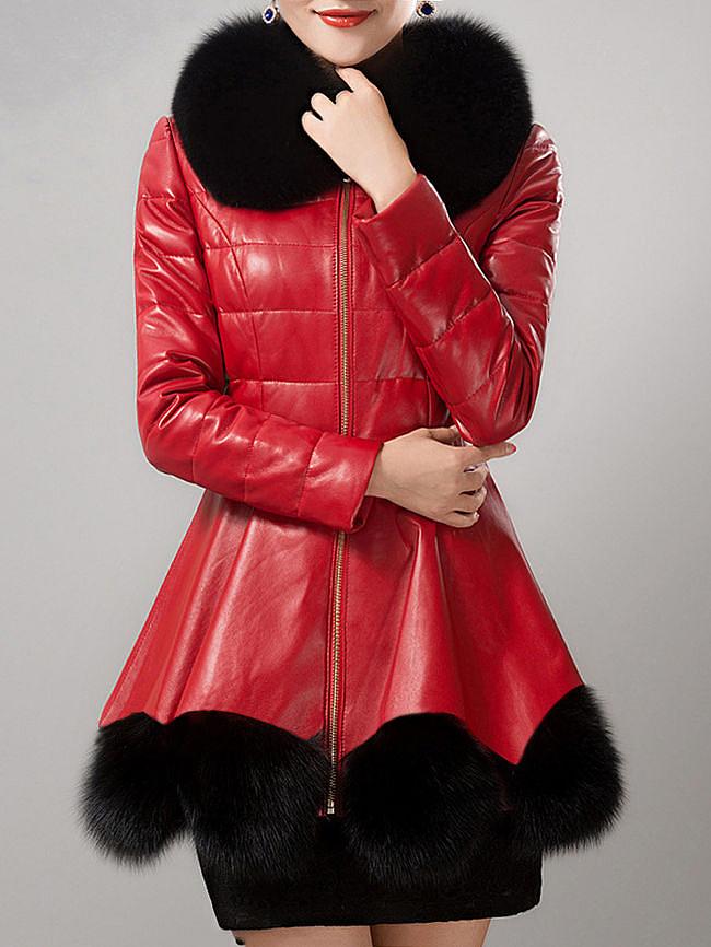 Fashionmia Faux Fur Collar Patchwork PU Leather Coat