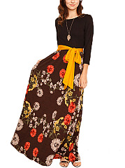 Round Neck Pocket Floral Printed Maxi Dress