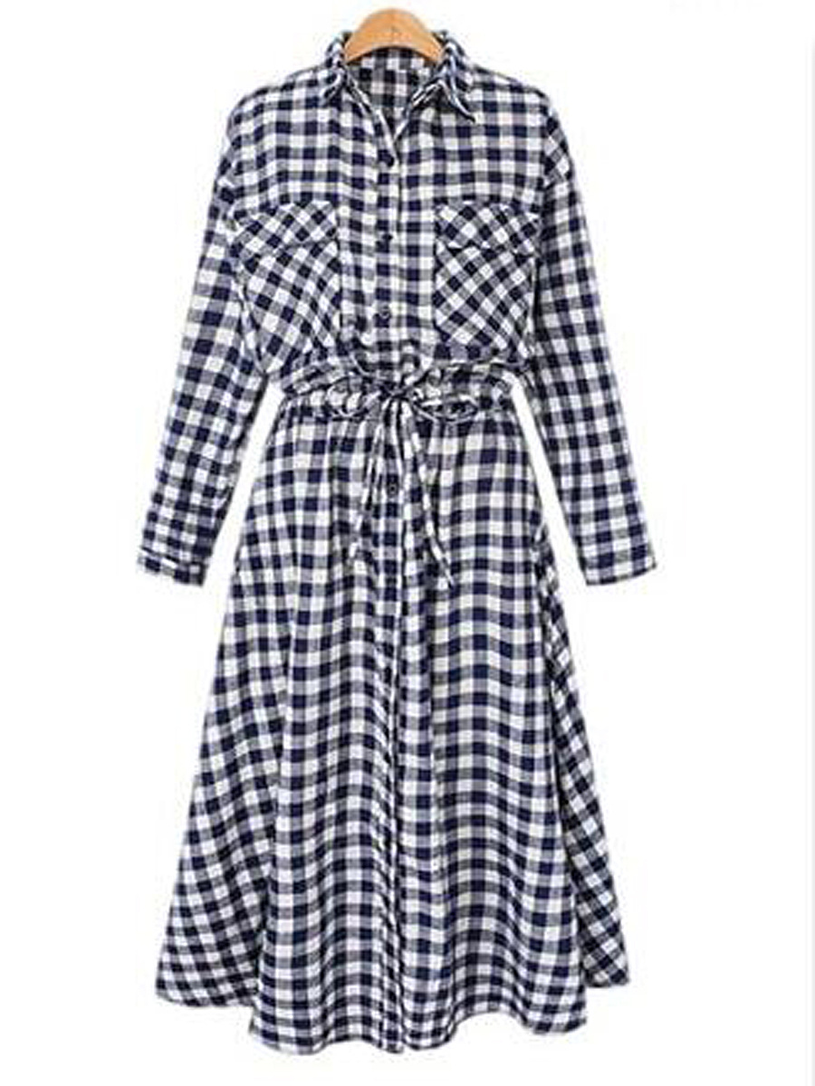 Turn Down Collar  Plaid  Cotton Shift Dresses