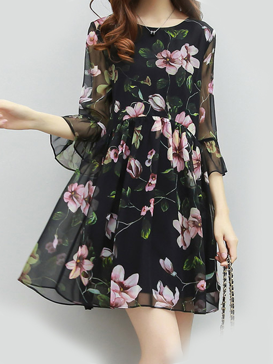 Bell Sleeve Hollow Out Floral Printed  Chiffon Skater Dress