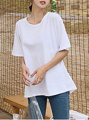 Spring Summer  Polyester  Women  Round Neck  Backless  Plain Short Sleeve T-Shirts