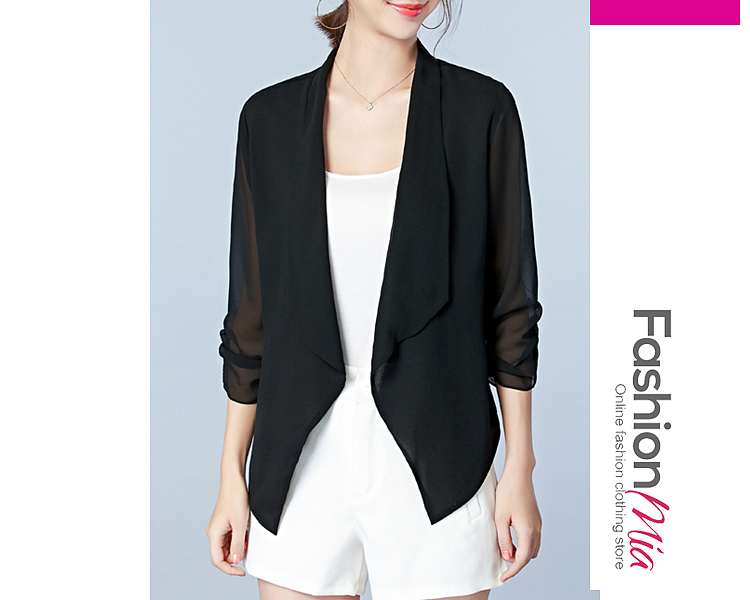 material:chiffon, collar&neckline:lapel, sleeve:three-quarter sleeve, pattern_type:plain, occasion:office, season:autumn*spring, package_included:top*1, front length:67,back length:55,shoulder:38.5,sleeve length:40,bust:88,waist:75,