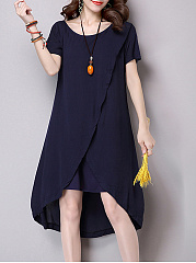 Scoop Neck  Asymmetric Hem  Plain Shift Dress