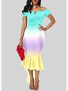 Sweet Heart  Color Block Bodycon Gradient  Dress