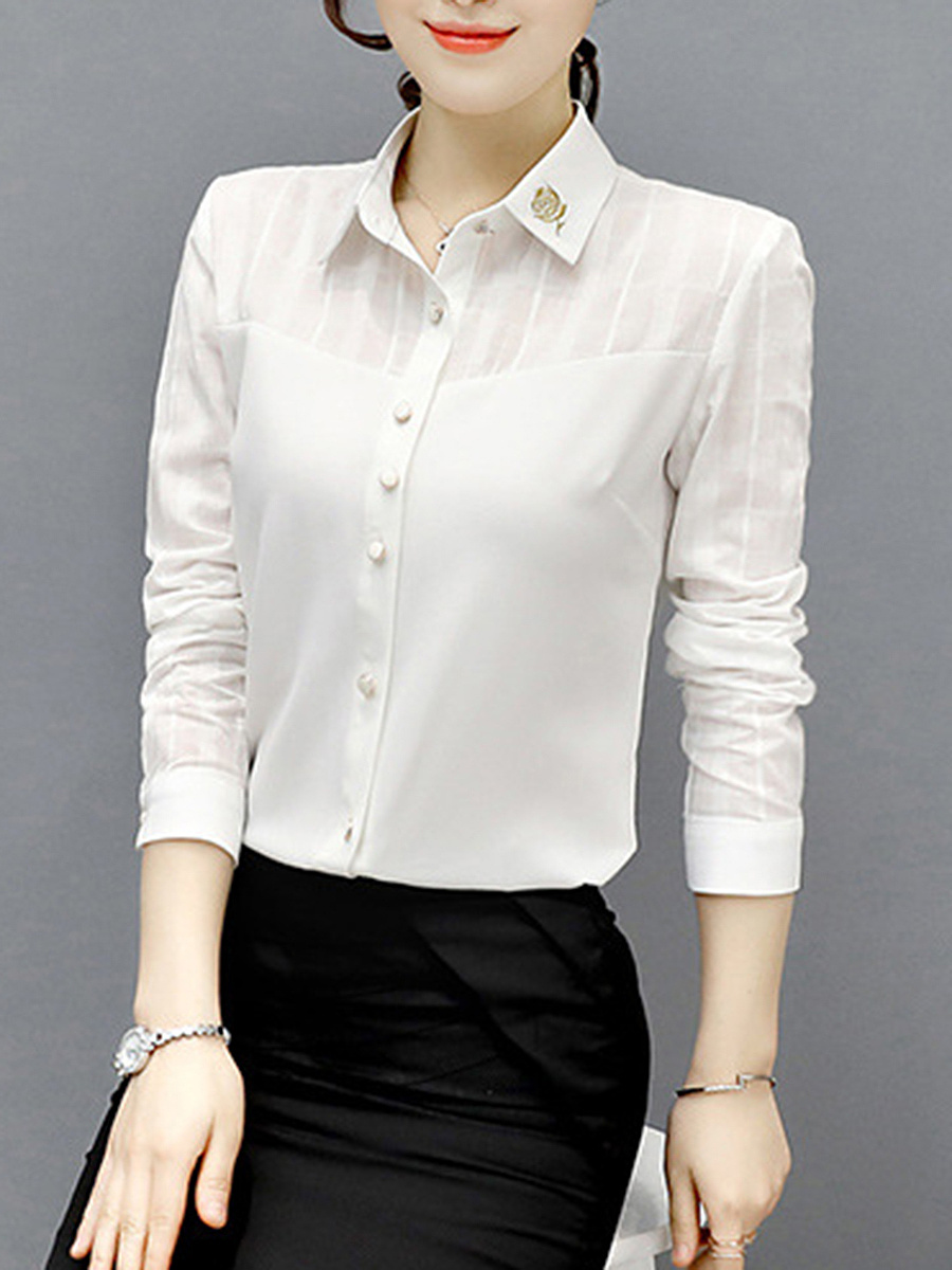 Embroidery Hollow Out Plain Blouse